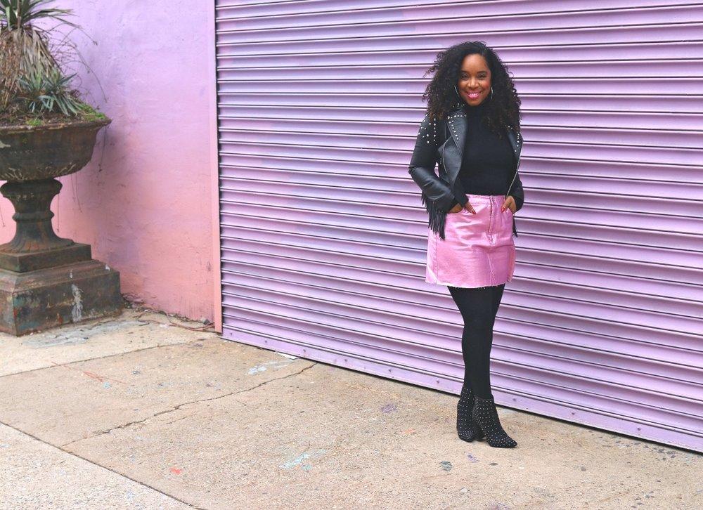 Style+%26+Poise-Feminine+Edge%2C+Pink+Metallic+Mini%2C+Studded+Leather+Jacket%2C+Studded+Boots.jpg