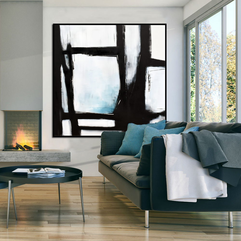 Original Large Abstract Art Painting On Canvas Black White Blue Wall Art  Large Acrylic Painting On Canvas Minimalist Abstract Painting #BWB001