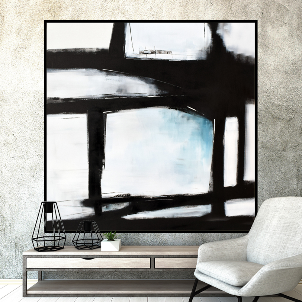Original Large Abstract Art Painting On Canvas Black White Blue wall art Large Acrylic Painting On Canvas Minimalist Abstract Painting #BWB001 & Modern Art Home Decor