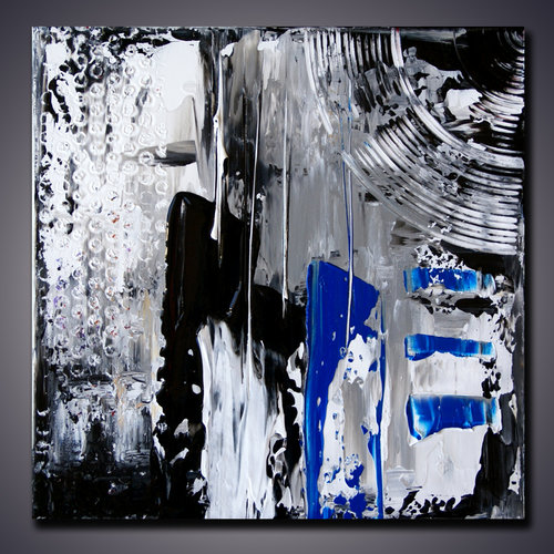 Black white blue painting mix and match 12x12 panel art modern abstract art palette knife art painting