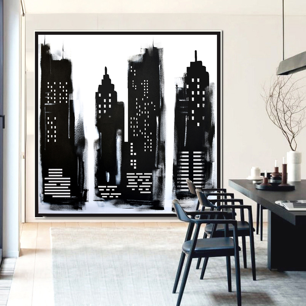 Original Large Cityscape Abstract Art Painting On Canvas Black And White Wall  Art Large Square Acrylic Painting On Canvas Minimalist Abstract Painting  #BW12
