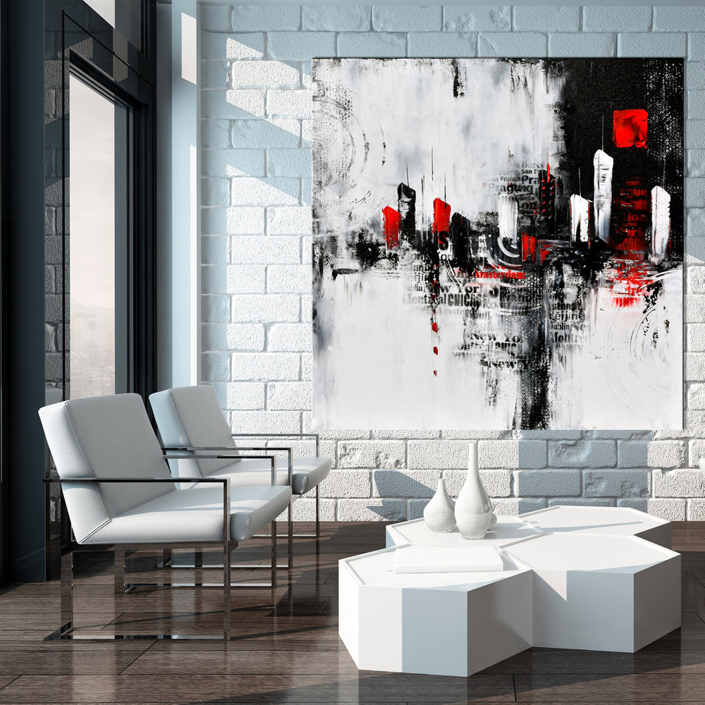 Large Urban Abstract Painting, Black And White Painting,original Modern  Painting, Wall Art, Canvas Art, Cityscape Painting #BW13. Minimalist Living  Room ...