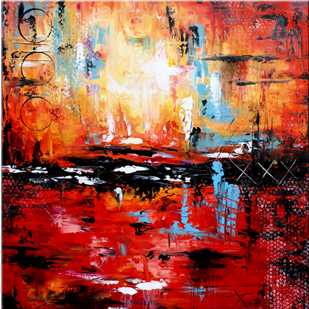 Contemporary Wall Art, Large Abstract Canvas Painting Handmade Acrylic  Painting, Abstract Wall Art, Abstract Canvas Art, Red, Blue ,black #SQ013