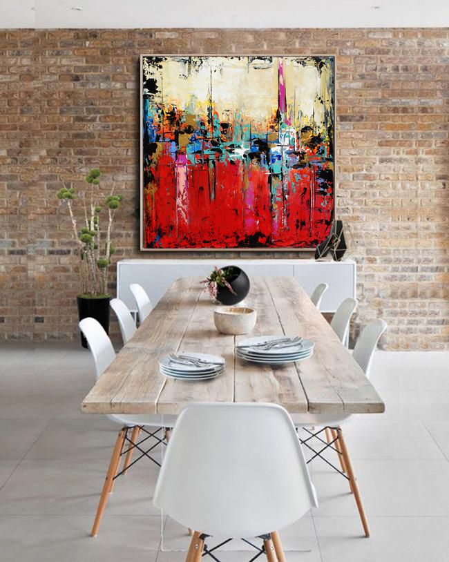 Large Abstract Red Art, Teal Abstract Painting, Modern Art, Gold Accents  Wall Art, Painting On Canvas Contemporary Wall Art #SQ016