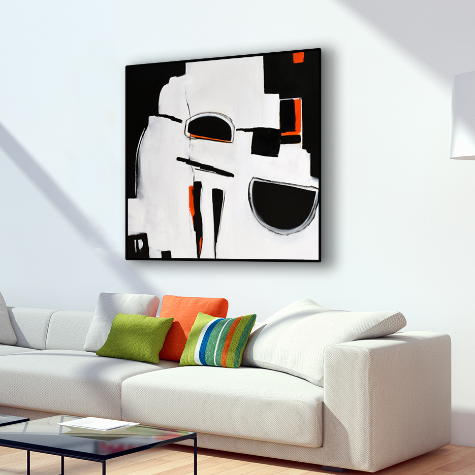 Original Large Abstract Art Painting On Canvas Black White Orange Wall Art  Large Acrylic Painting On Canvas Minimalist Abstract Square Painting #ORG12