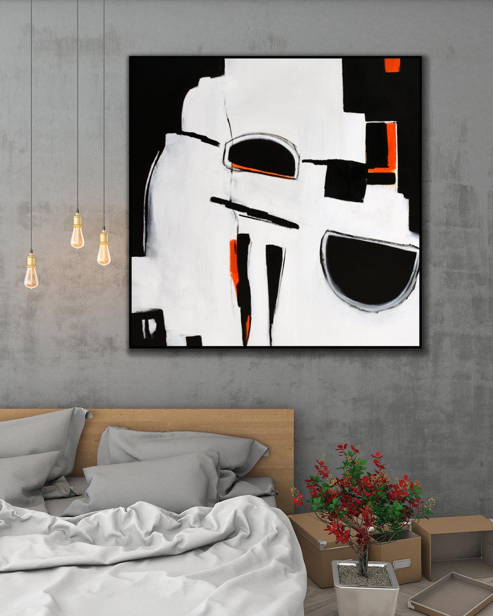 Original Large Abstract Art Painting On Canvas Black White Orange wall art Large Acrylic Painting On Canvas Minimalist Abstract Square Painting #ORG12 & Modern Art Home Decor