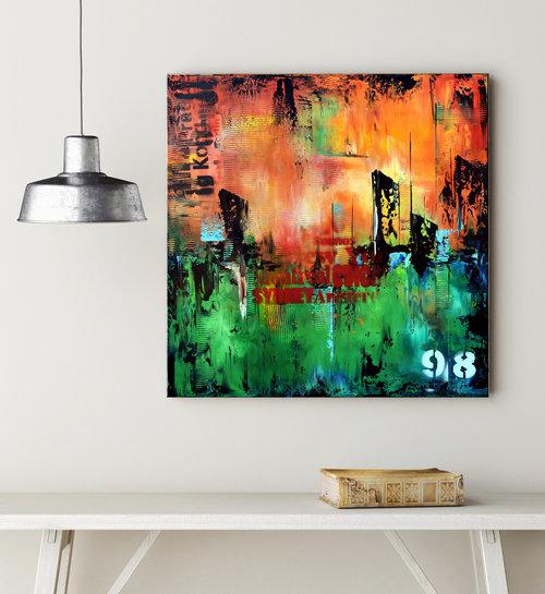 No 98 24x24 green and orange abstract urban art modern painting original wall art org23