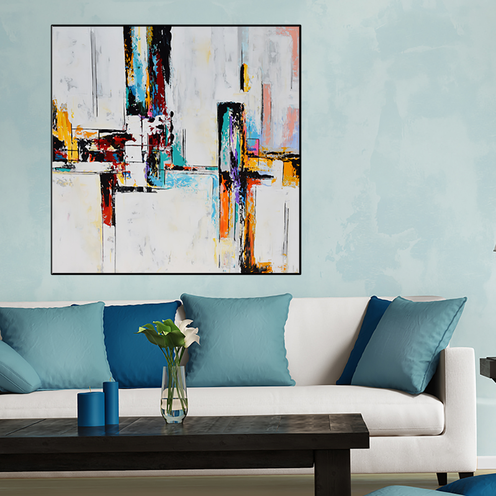 Square Abstract Painting, Large Handmade Abstract Painting On Canvas, Contemporary  Wall Art White Red Orange Aqua Blue #ORG28