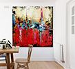 Blank framed print on white wall in danish styled interior dinin