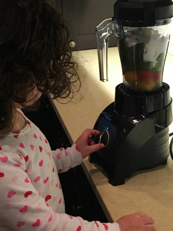 JZ taking ownership of her green start to the day! Kids love to help, and they'll be so proud of their healthy creations.