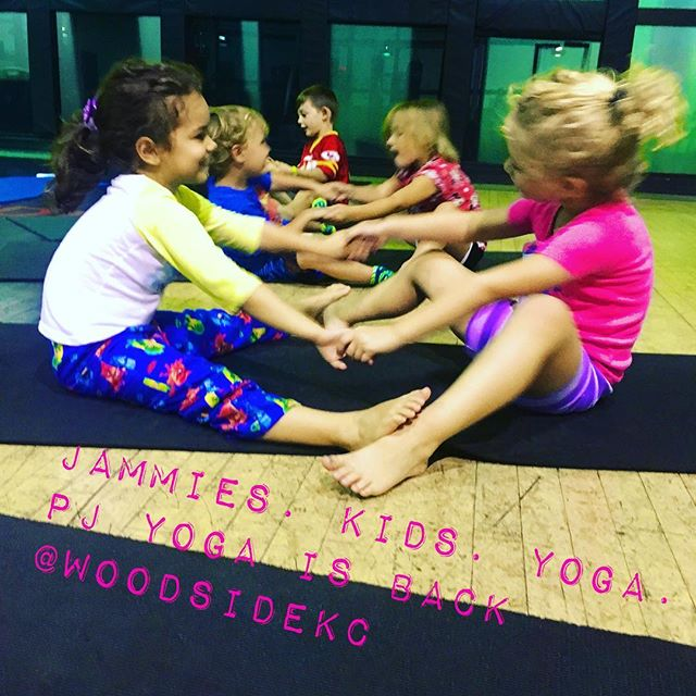 PJ Yoga is back!  These little yogis should sleep well tonight. Next two dates are 10/12 and 11/9!  #kidsyogakc #kidsyogateacher #pjyoga #fridaynightyoga