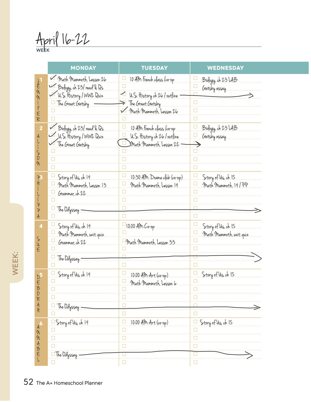 Sorry if you too now have that Beautiful south song stuck in your head, but even if your students have less earwormy names, there is plenty of room to keep up with their studies in the weekly planner pages.