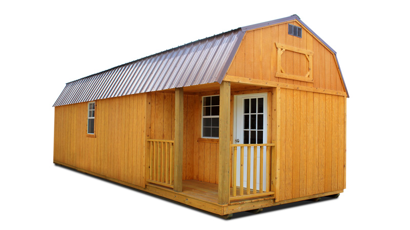 Stained side lofted barn cabin shed