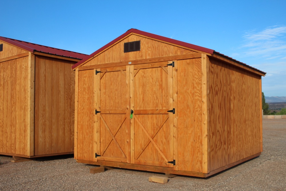 Stain wood utility shed