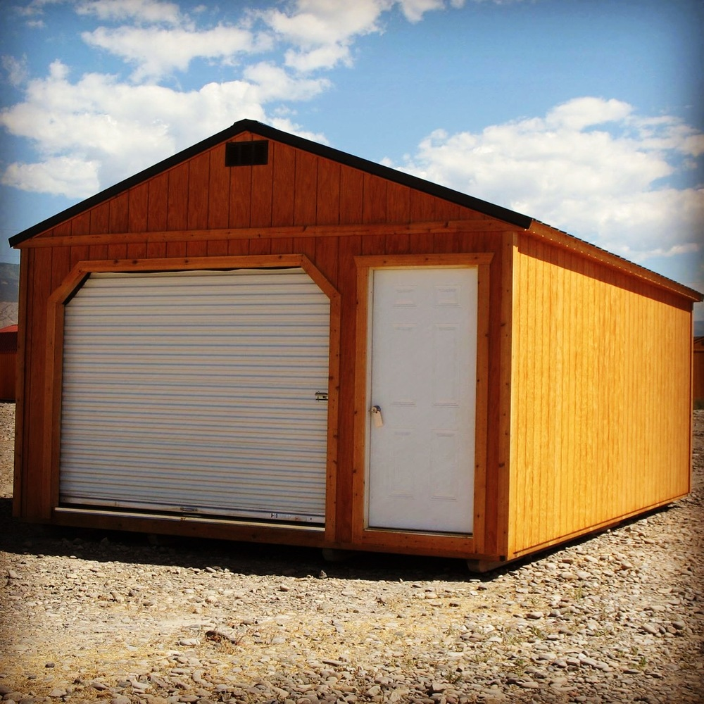The portable garage come with your choice of Fir Wood siding or LP® SmartSide® painted panels!