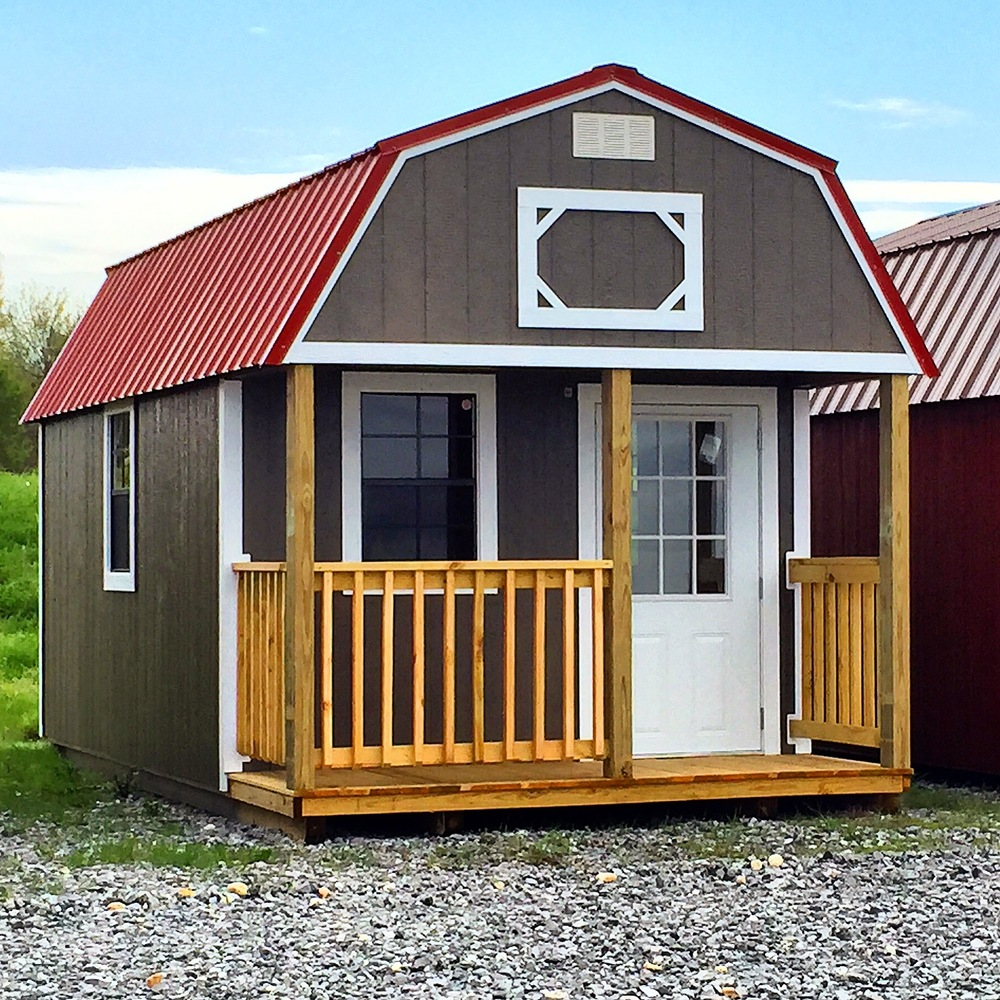 Lofted Barn Cabins come with Fir Wood siding or LP SmartSide Painted panels.  The Fir wood is stained to seal out water, and the painted panels come in white, tan clay, brown, light grey, almond, black, dark green, barn red, dark grey, or taupe. You may also order a custom color!