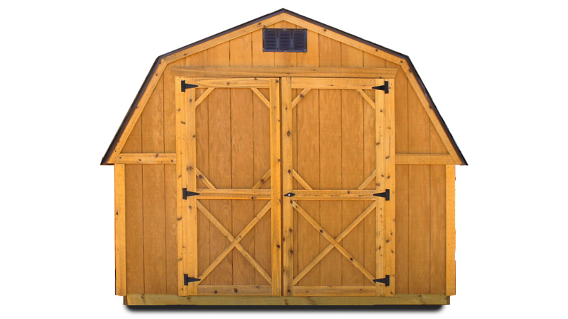 Our portable buildings are available with Fir Wood siding or LP® SmartSide® painted panels