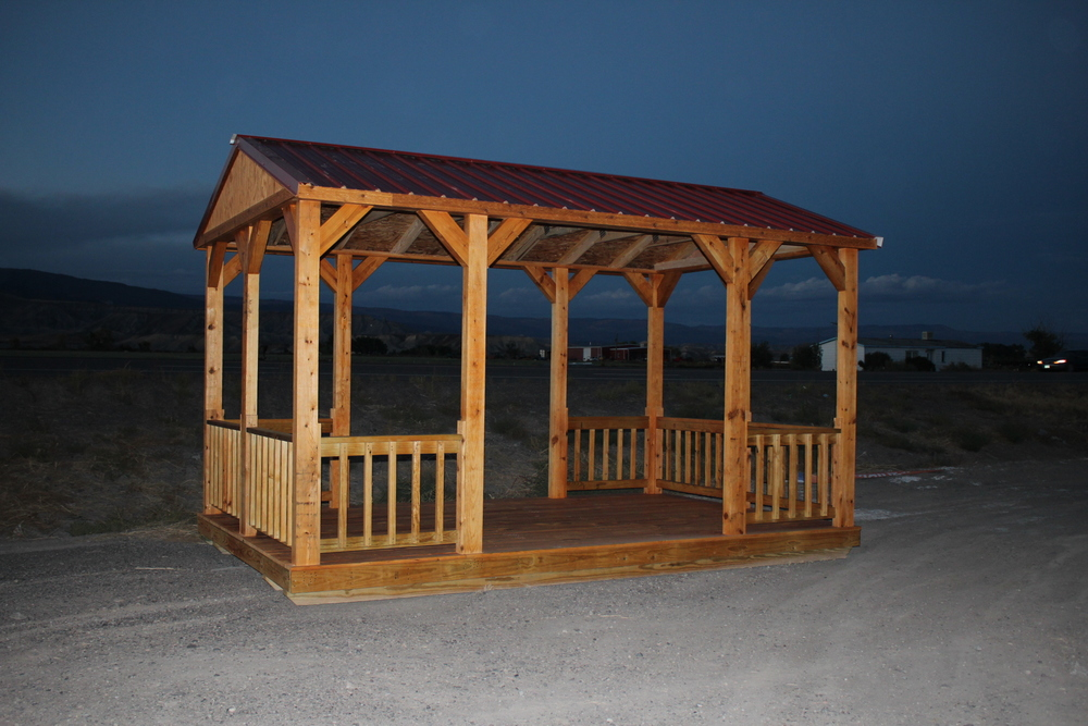 Each cabana / gazebo comes with Fir Siding and is water sealer and stained with Honey Gold Olympic stain for no extra charge!