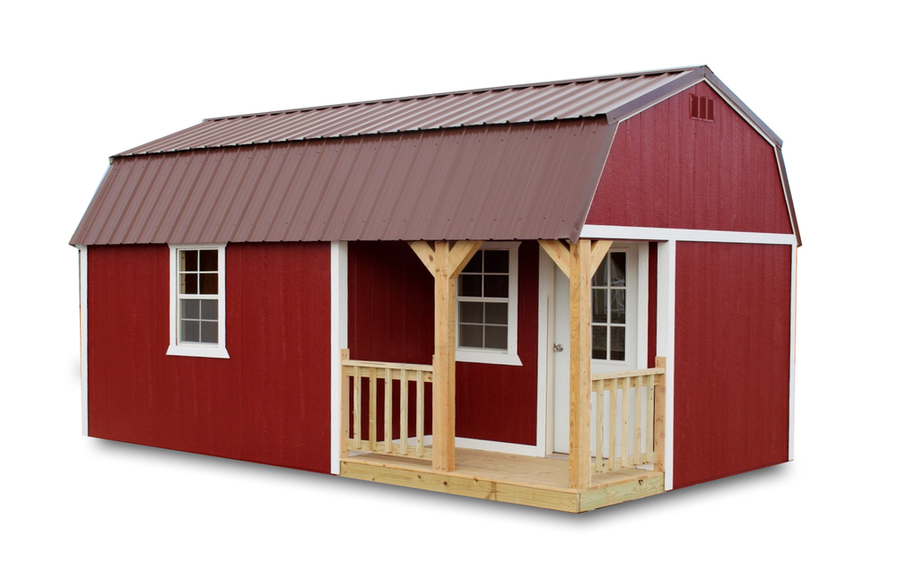 Painted Side Lofted Barn Cabin with porch