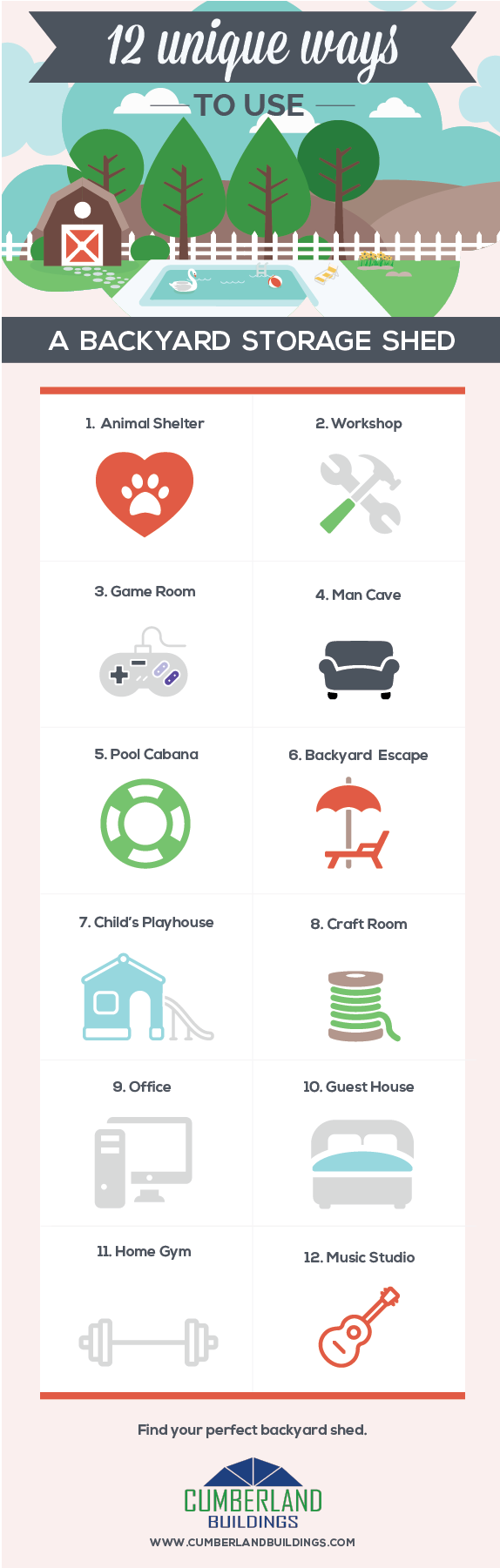 12 Unique Ways to Use a Backyard Storage Shed Infographic