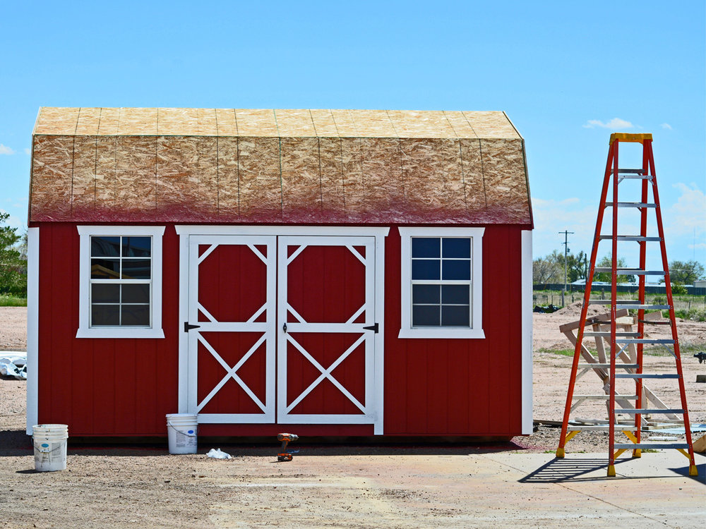 Side Lofted Barn just after being painted. The roof will be installed next.