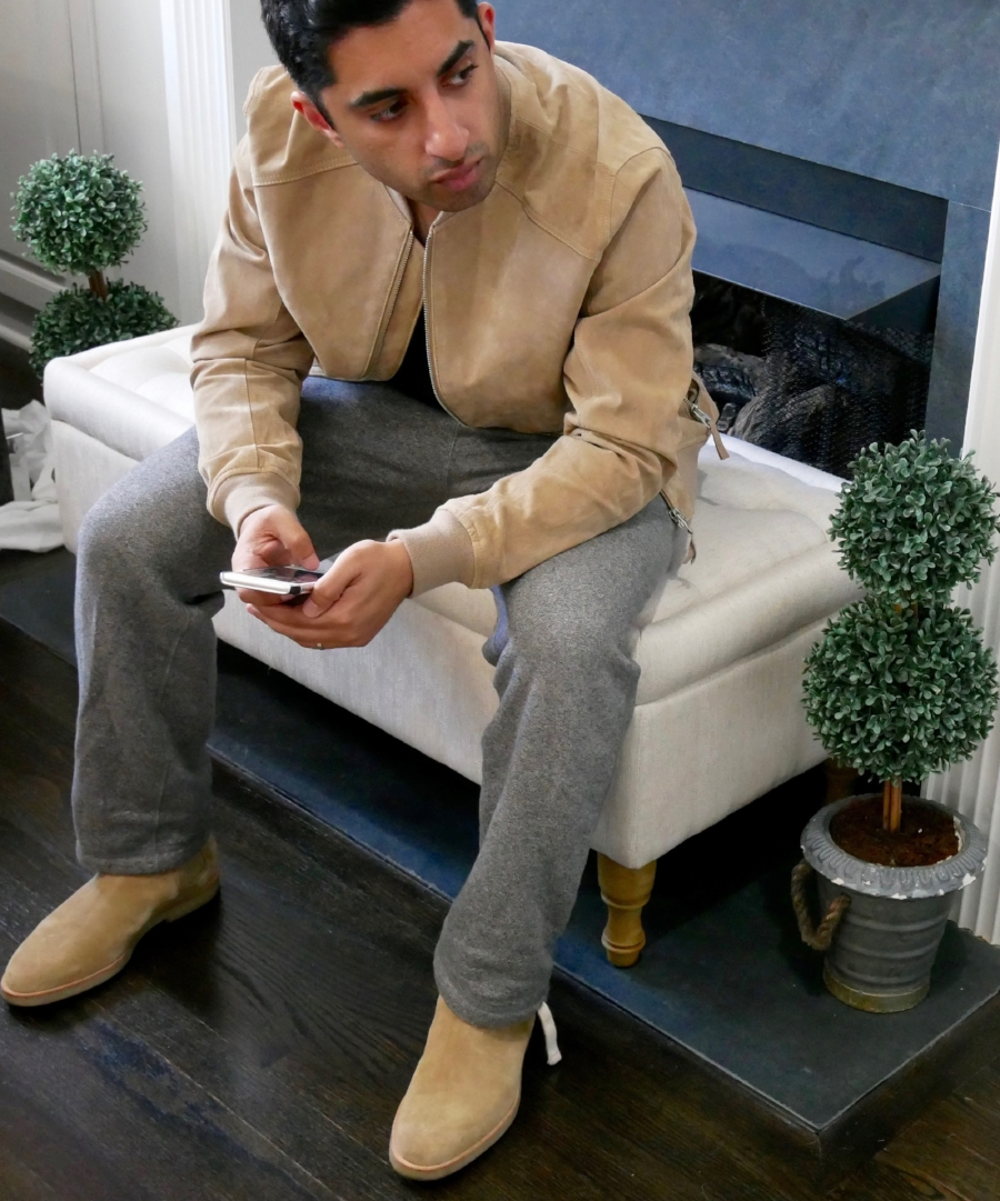 What's going on in that beautiful mind? Probably how I can rock the boots with sweats and a suede bomber jacket.