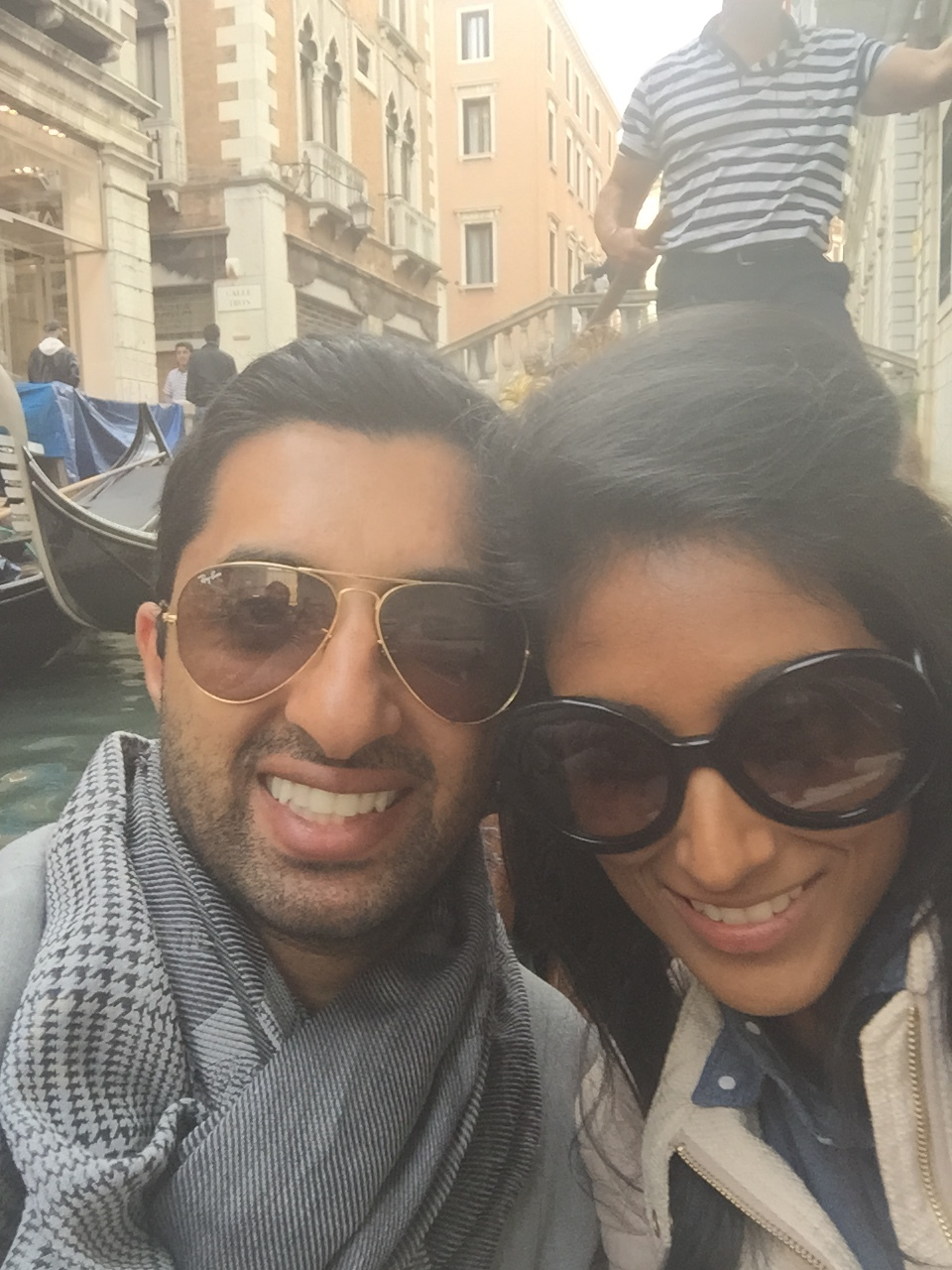 Scarf game on point. Bae and I enjoying the romantic canals of Venice.