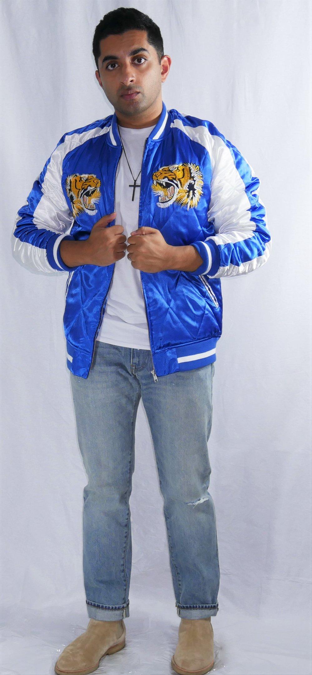 Jacket: Asos  T-shirt: Banana Republic  Jeans: J. Crew  Boots: Common Projects