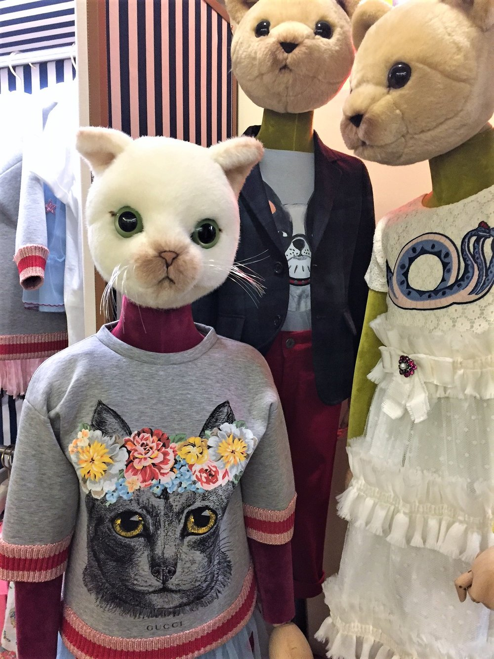 Sometimes art is a bit out there, like Gucci's kids section at Bergdorf Goodman's. But I'm sure someone finds inspiration from this, even if it is to get a pet cat. Or get rid of your pet cat, depending on which side of the fence you're on.