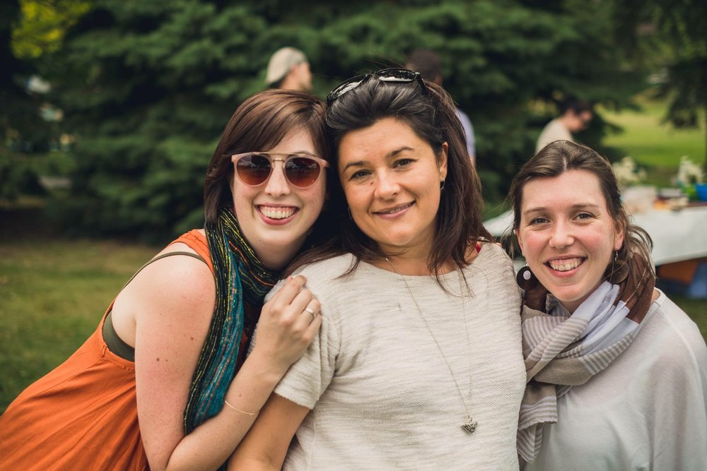 Ariane (left) and Mélanie (middle) started as work colleagues. Now friends, we even survived an office Hippicnic (c'mon guys, a hippie-themed picnic!).