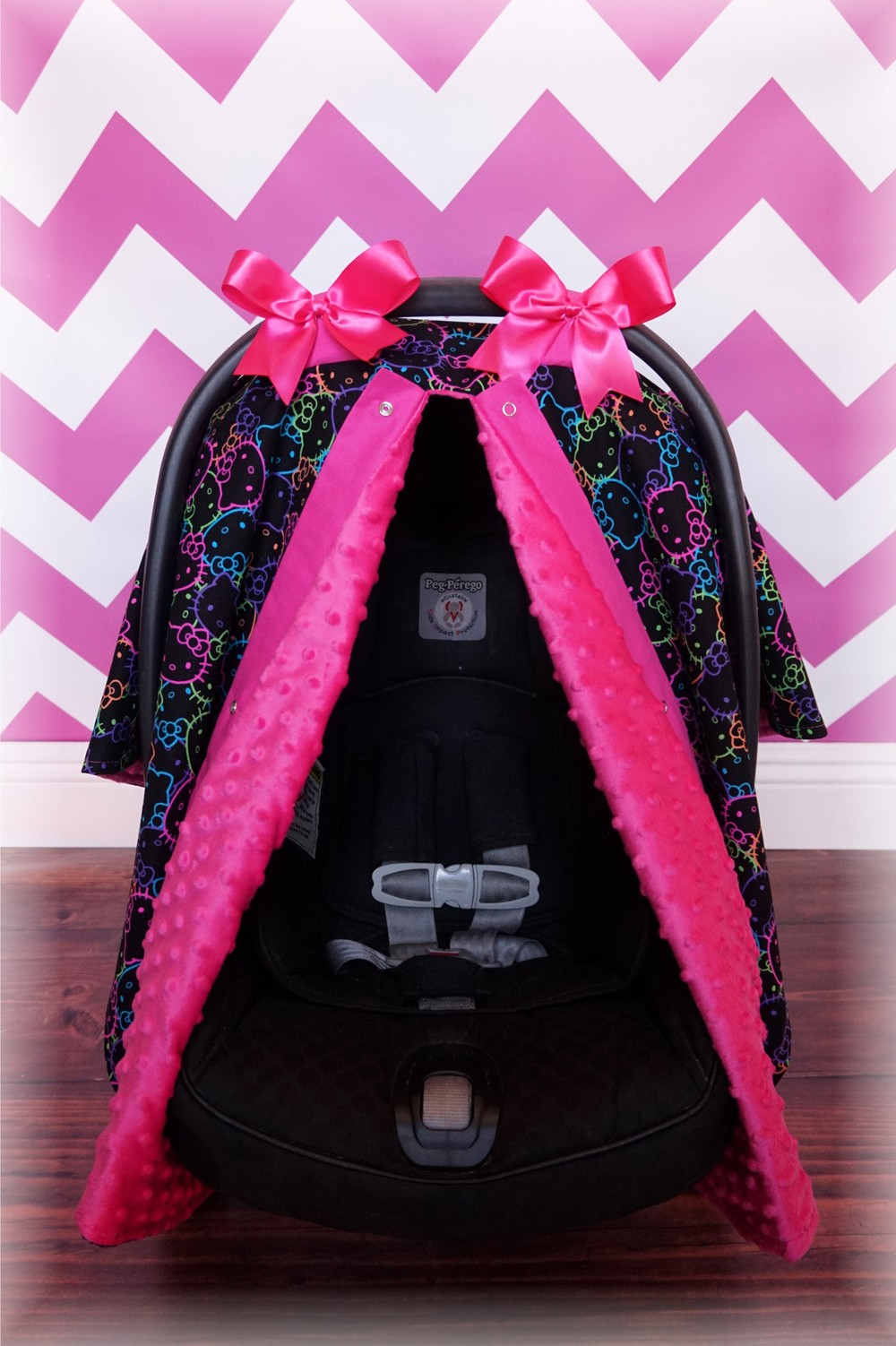 Black Neon Hello Kitty u0026 Hot Pink Minky Canopy : minnie mouse car seat canopy - memphite.com