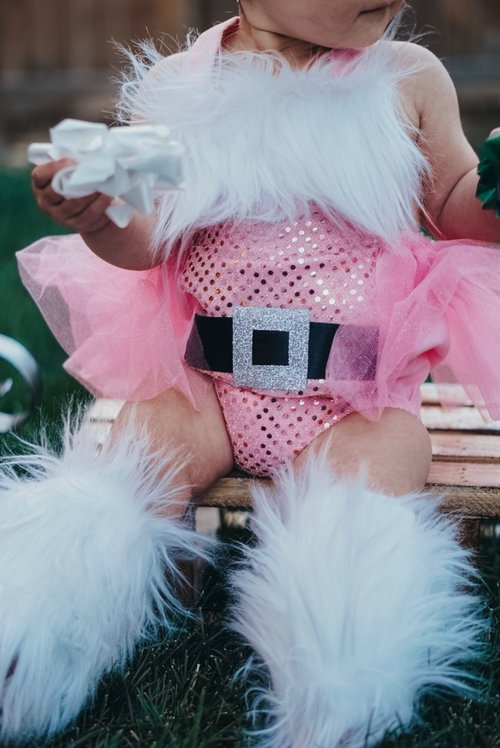 d6a11c74d42 Extra Fluffy Sparkle BABY PINK Santa Romper