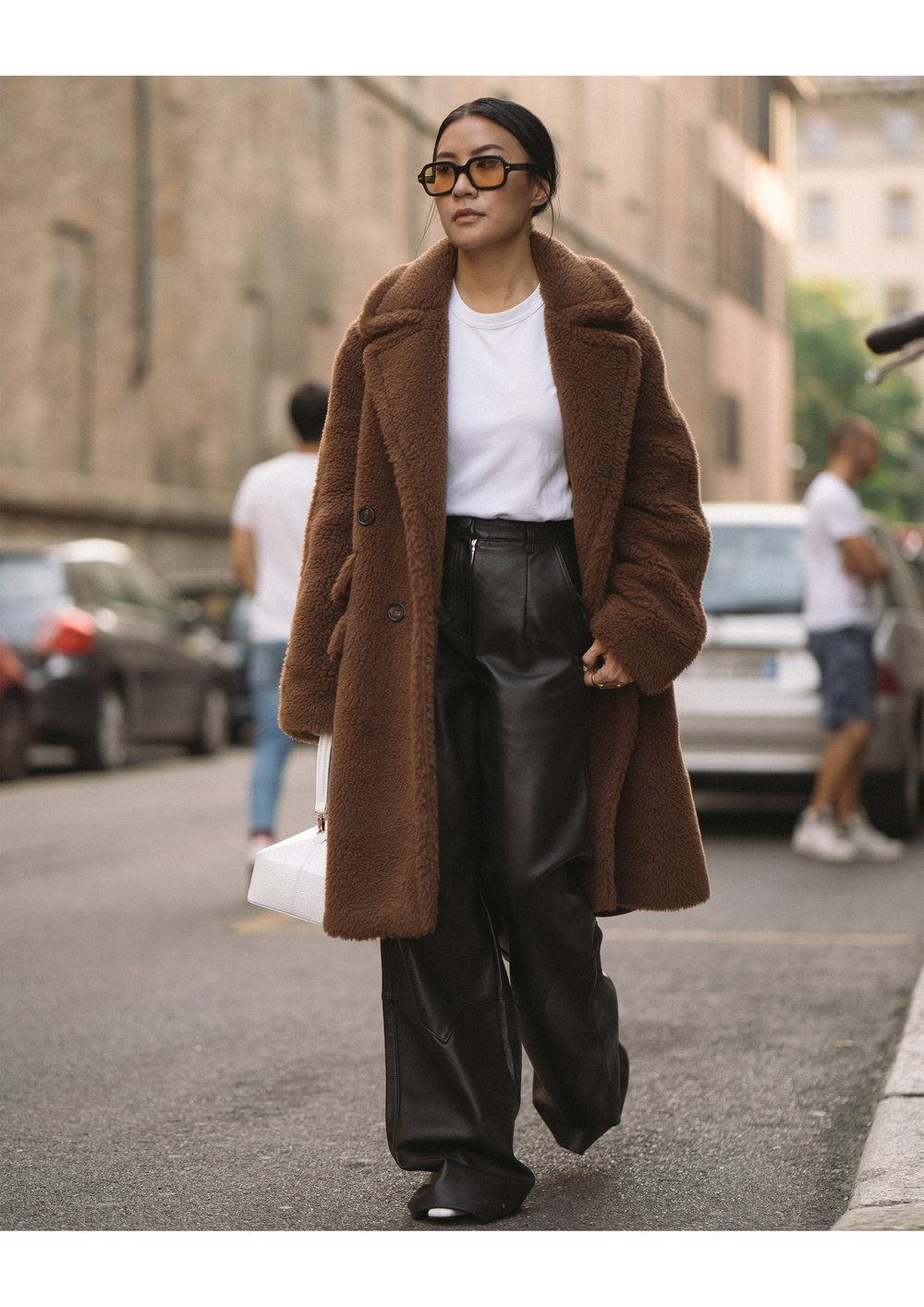 Coat: Max Mara, Tee: Uniqlo, Leather Pants: Freya Dalsjo