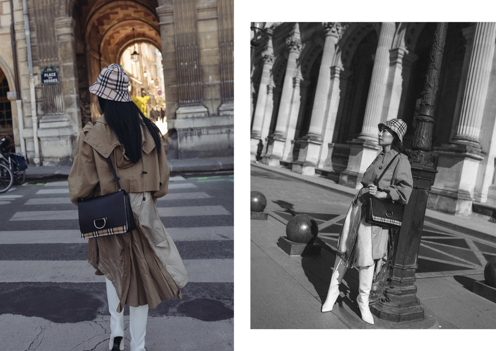 Hat: Vintage Burberry (   here   ), Trench: Maison Margiela (   here   ), Bag: Burberry, Shoes: Charles & Keith (   here   )