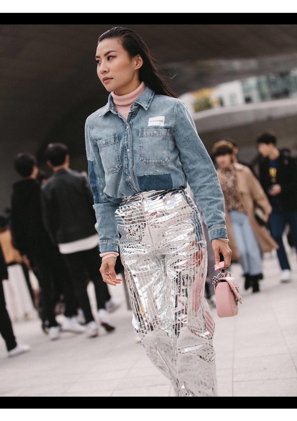 Denim Shirt + Turtleneck: Calvin Klein Jeans, Pants: Materiel Tbilisi, Bag: Louis Vuitton New Wave