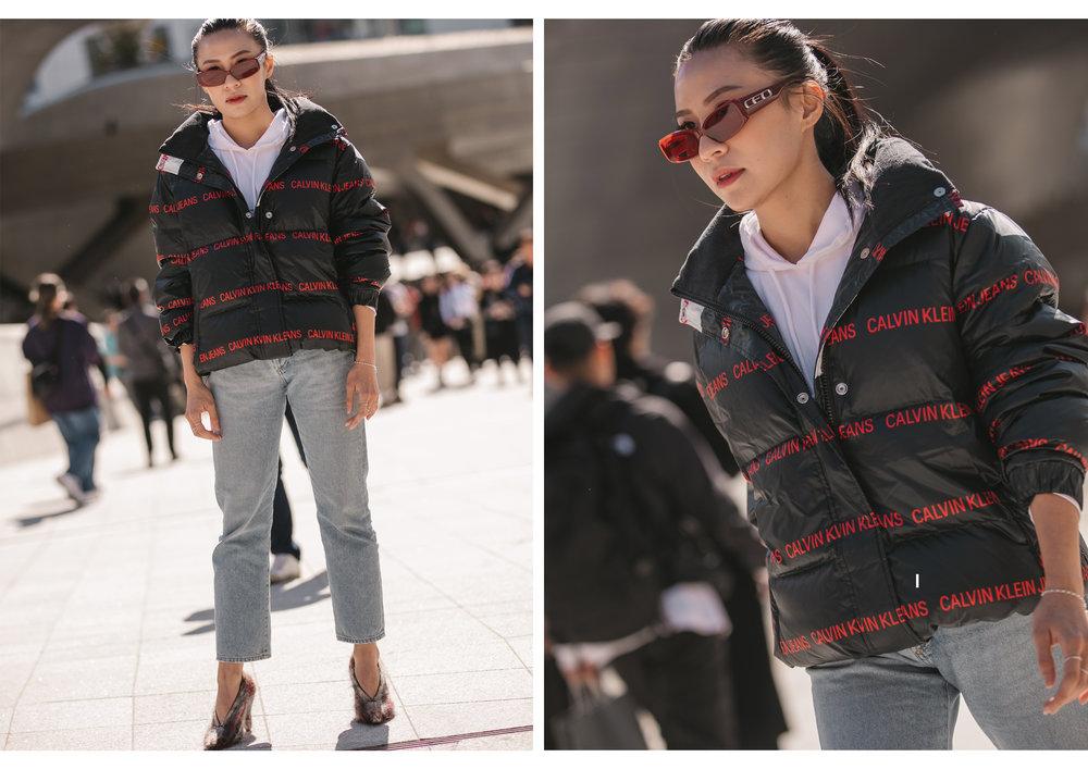 Puffer Jacket: Calvin Klein Jeans, Denim: Goldsign, Shoes: Celine, Eyewear: Alexander Wang x Gentle Monster