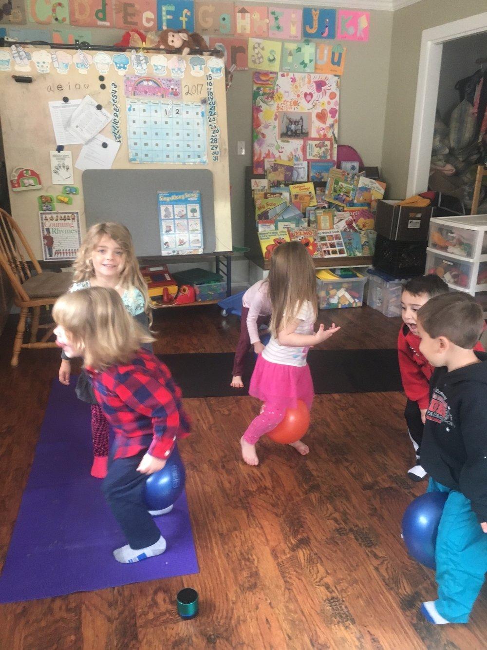 Kids' Preschool Yoga Class, Fun with Core Balls