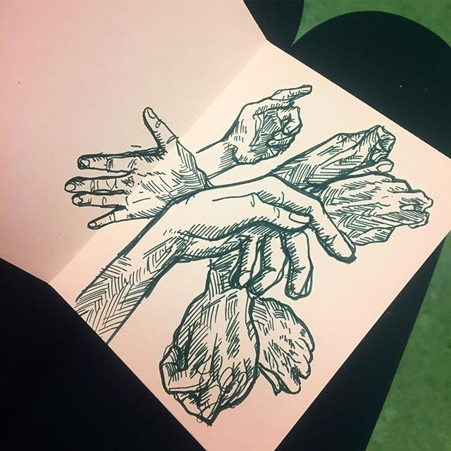 Last night at a bar, practicing hands in a tiny book i made . . . . #hands #bookmaking #ink #sketch #doodles