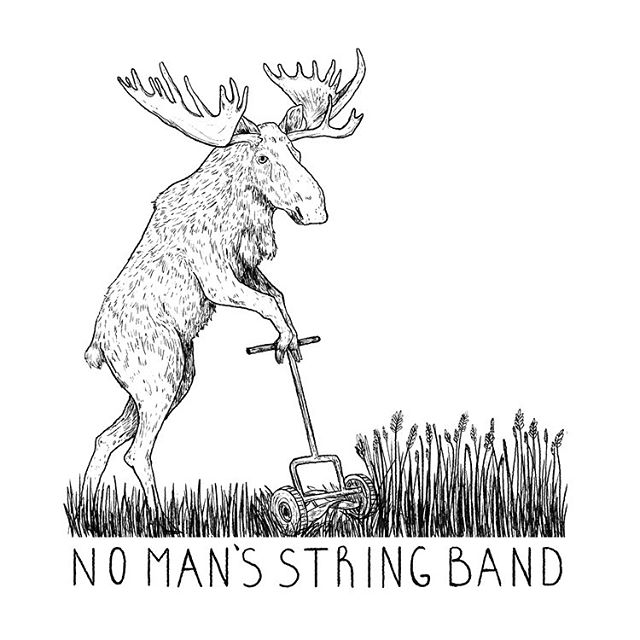 Shirt design for No Man's String Band ✨ beautiful shirts done by @afternoonprinting 💕 . . . . . #bluegrass #moose #tshirts #illustration #artistsoninstagram #lawnmower