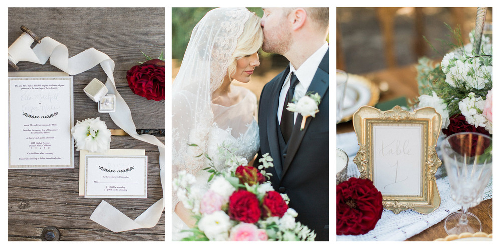 pirouettepaper.com | Mallory Dawn Photography | Wedding Stationery and Calligraphy by Pirouette Paper Company | Holiday Wedding Ideas with Red, Gold, and Silver Details