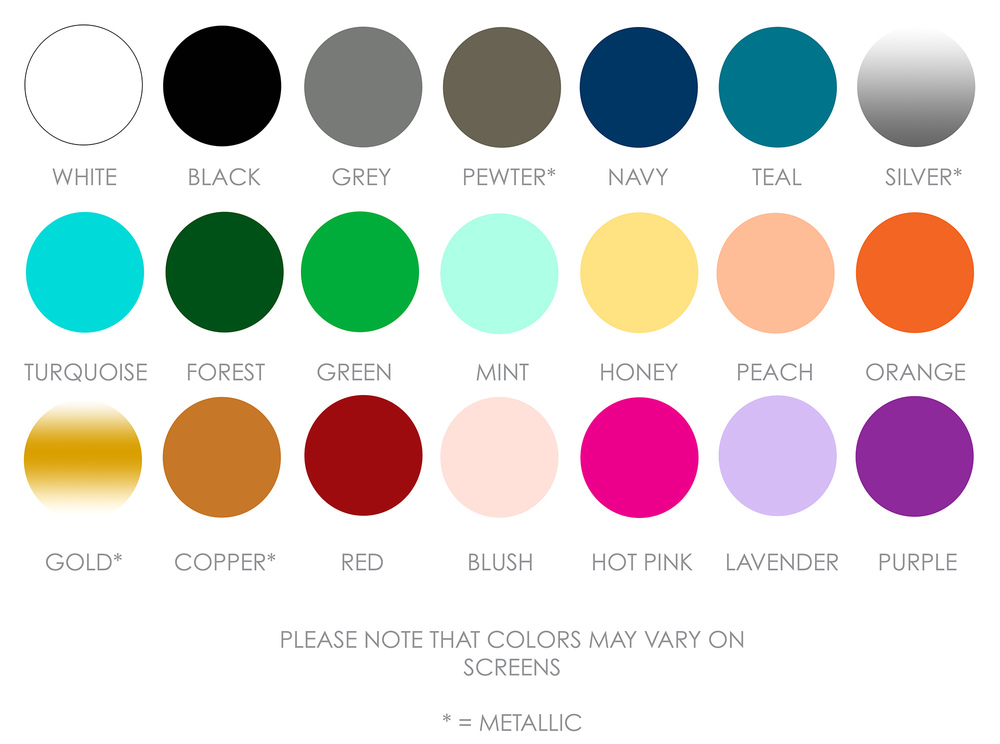 Ink Colors Offered by Pirouette Paper Company