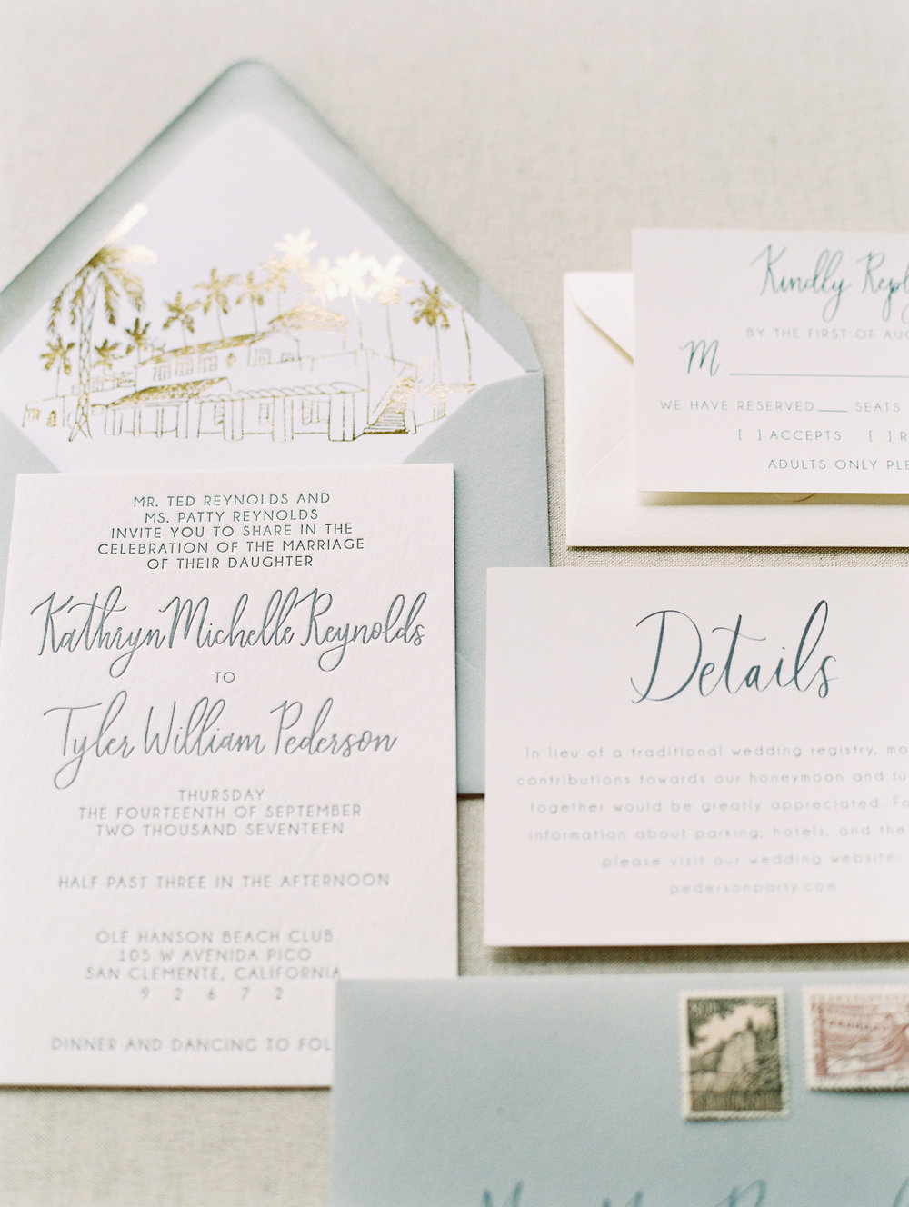 Ole Hanson Beach Club Wedding | Pirouette Paper Custom Invitations, Paper Goods and Signage | Mallory Dawn Photography | www.pirouettepaper.com