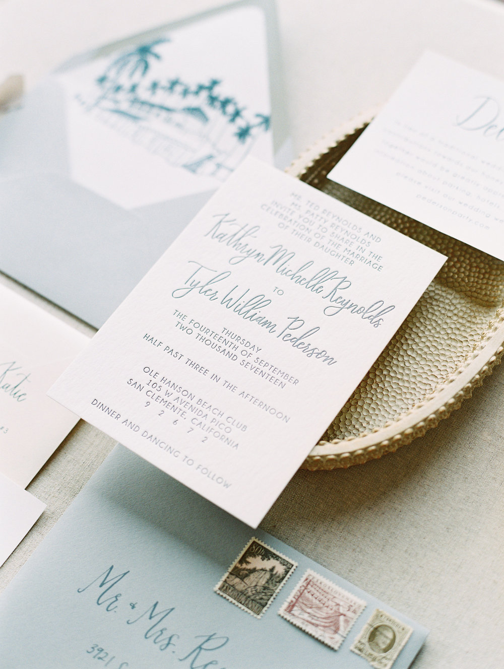 Ole Hanson Beach Club | Pirouette Paper Custom Wedding Invitations | Mallory Dawn Photography