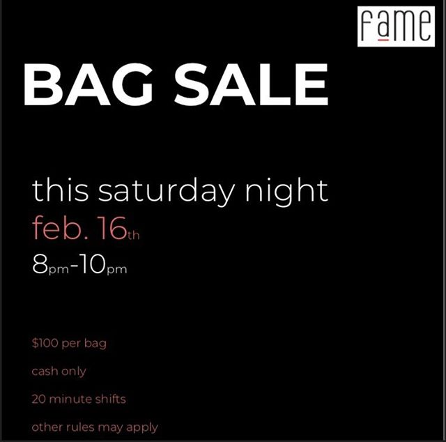 THIS WEEK!!!! #bagsale #cashonly #biggestsaleoftheyear