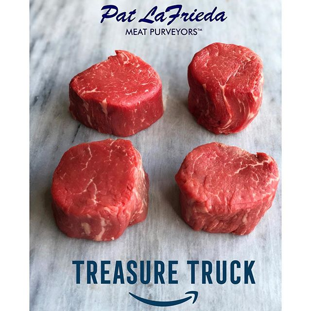 @treasuretruck has @patlafrieda Filet Mignon on the truck in select cities, including NYC today! They come as (4) 6-ounce filets per pack. Get yours in the Amazon app and learn more at amazon.com/treasuretruck. Pat LaFrieda himself will be at 355 West 34th Street from 2pm to 3pm. Come on by! #TreasureTruck #PatLaFrieda