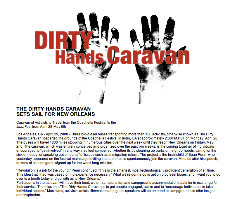 Sean Penn's Dirty Hands Caravan