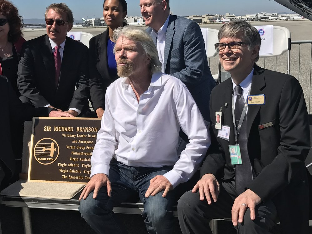 Sir Richard Branson being honored at the Flight Path Museum @ LAX