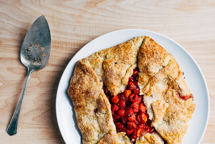 Sour Cherry Galette (and photo) by Brooklyn Supper, click image to print original recipe