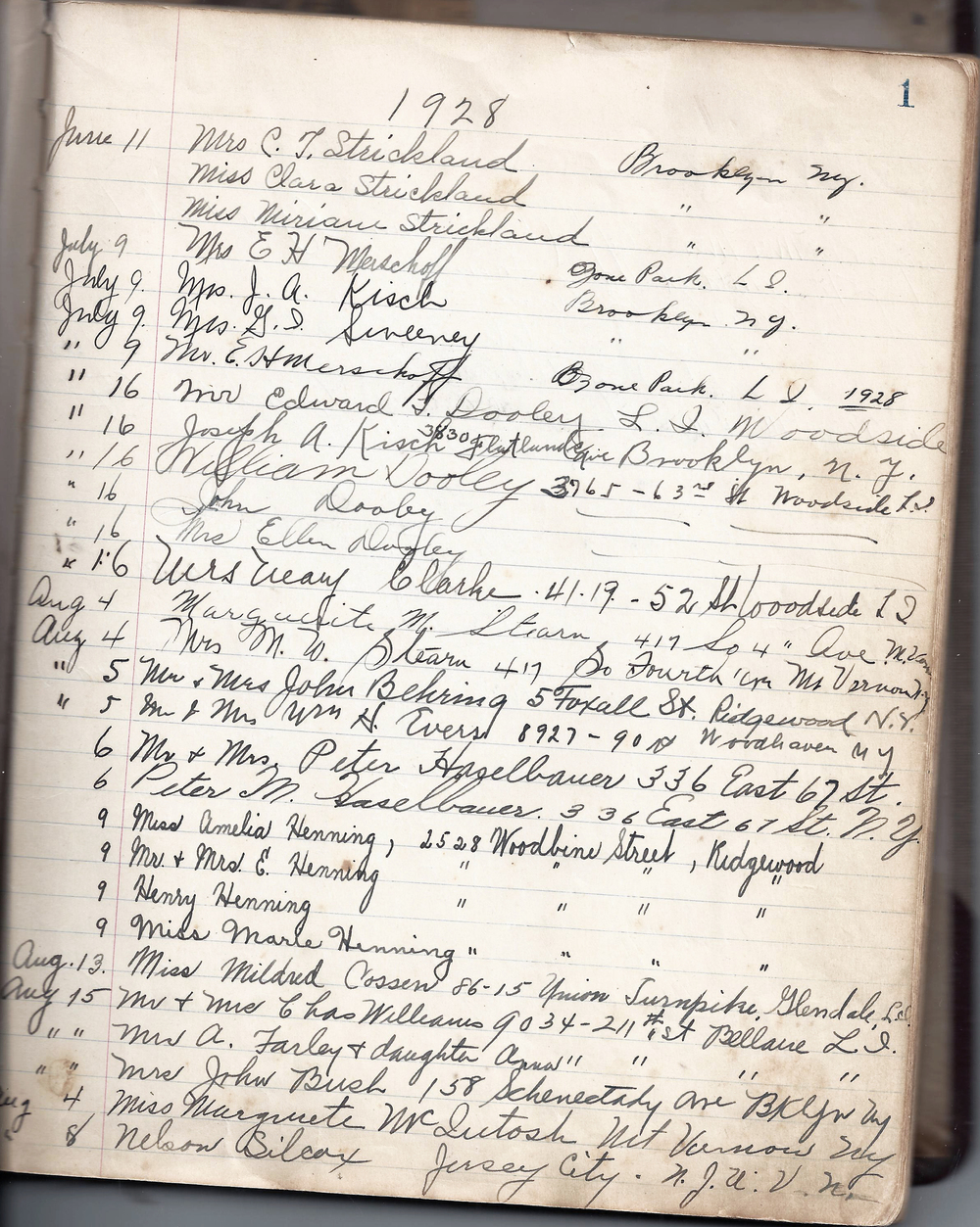 Page from RHF Guest Register 1928