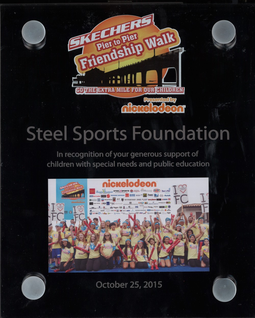 Steel Partners Foundation, in participation with Steel Sports, received a plaque from The SKECHERS Foundation for participating announced that the 2015 SKECHERS Pier to Pier Friendship Walk that broke records and raised over $1.4 million for children with special needs.